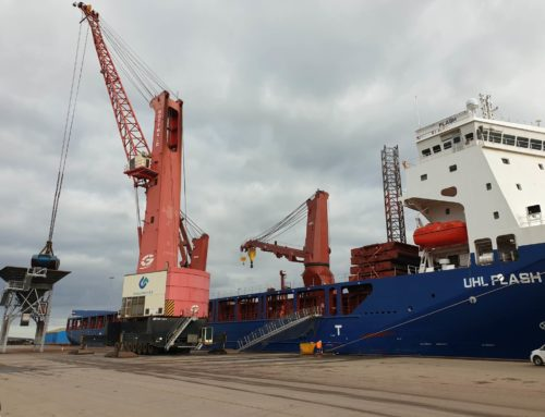 "05.03.2020 – M/V ""UHL Flash"" discharging sheakernels in Grenaa"